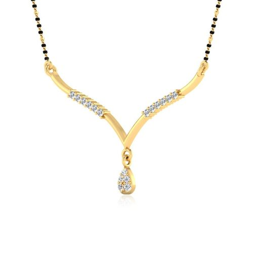 Ornaz 14Kt Yellow Gold Diamond Forever Love Mangalsutra