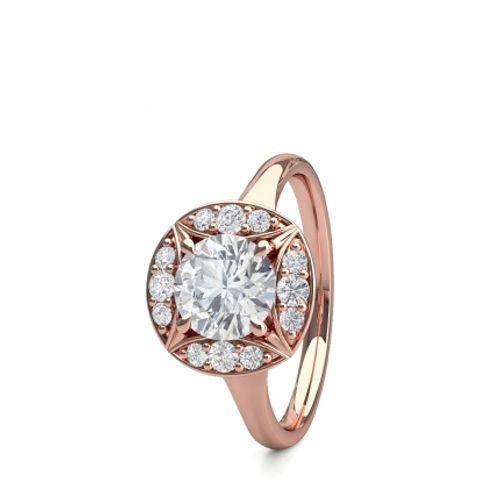 Ornaz 14Kt Rose Gold Diamond Fibriz Solitaire Ring