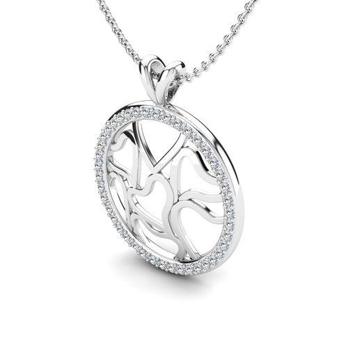 Ornaz 14Kt White Gold Diamond Asbatell Pendant