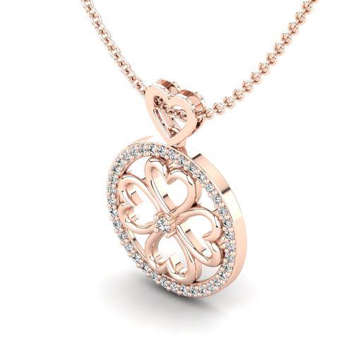 Ornaz 14Kt Rose Gold Diamond Elai Pendant