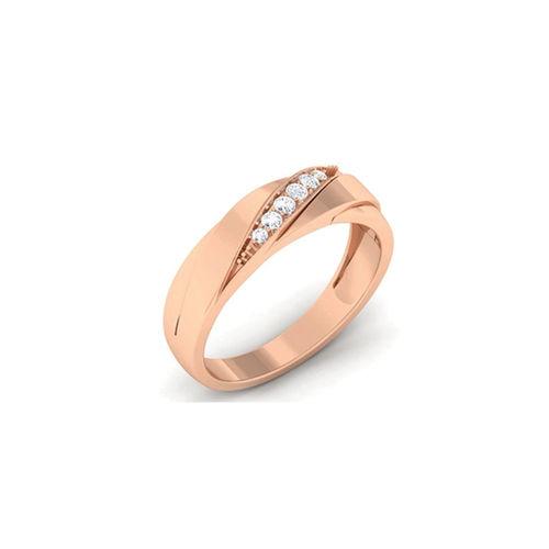 Ornaz 14Kt Rose Gold Diamond Undaunted Ruler Men Ring