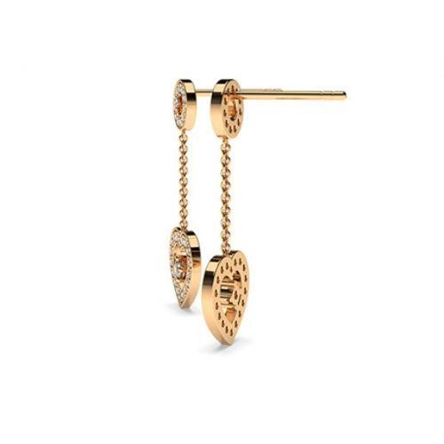 Ornaz 14Kt Rose Gold Diamond Ermene Drop Earrings