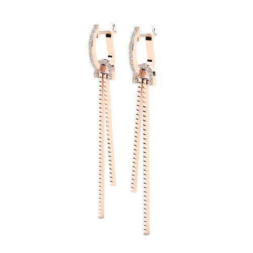 Ornaz 14Kt Rose Gold Diamond Jolanda Drop Earrings