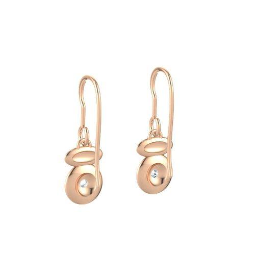 Ornaz 14Kt Rose Gold Diamond Pebbles Drop Earrings
