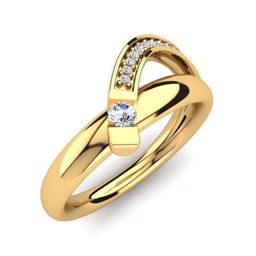 Ornaz 14Kt Yellow Gold Diamond Tumong Ring