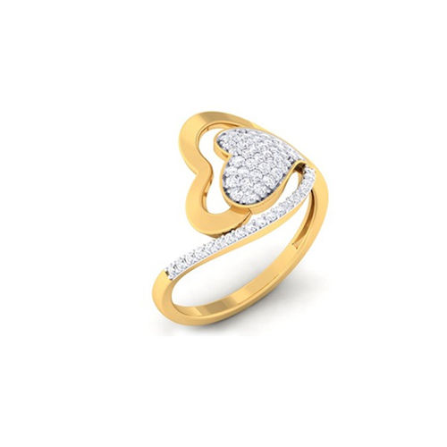 Ornaz 14Kt Yellow Gold Diamond En Love Hearts Ring