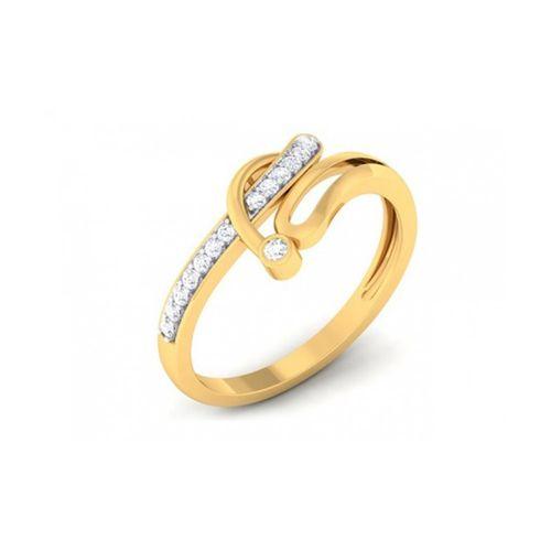 Ornaz 14Kt Yellow Gold Diamond Floret Ring
