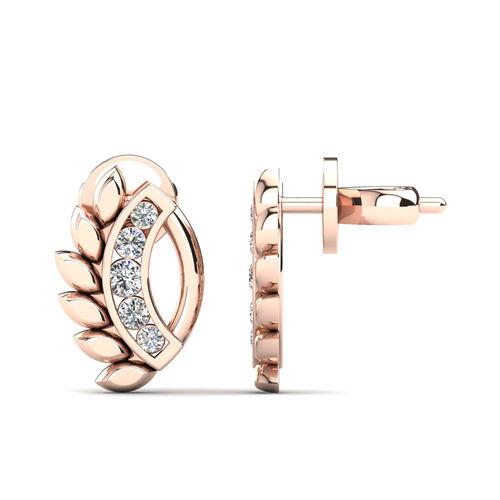 Ornaz 14Kt Rose Gold Diamond Sypery Stud Earrings
