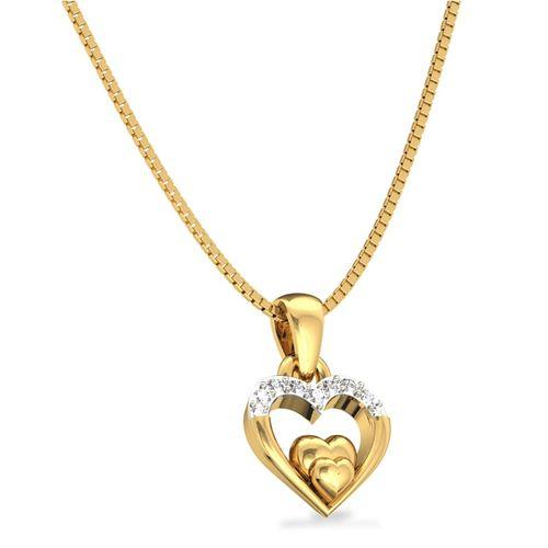 Ornaz 14Kt Yellow Gold Diamond Love Connect Pendant