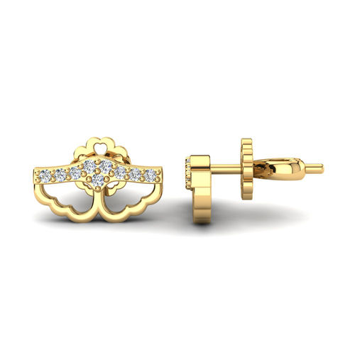 Ornaz 14Kt Yellow Gold Diamond Emiliana Stud Earrings