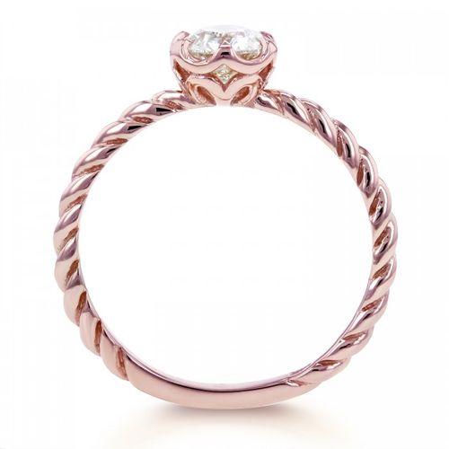 Ornaz 14Kt Rose Gold Diamond Tressa Solitaire Ring