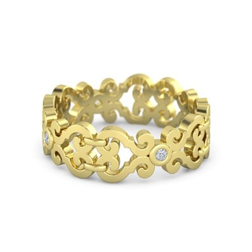 Ornaz 14Kt Yellow Gold Diamond Balcony Band