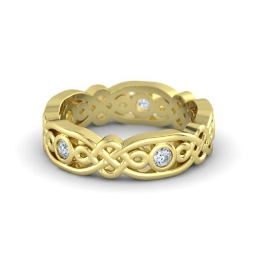 Ornaz 14Kt Yellow Gold Diamond Alhambra Band