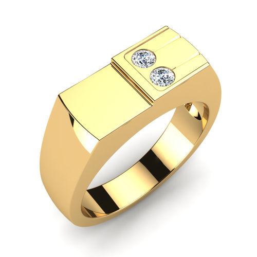 Ornaz 14Kt Yellow Gold Diamond Balance Men Ring