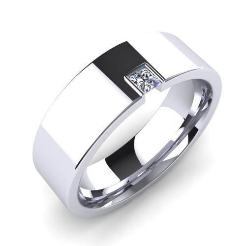 Ornaz 14Kt White Gold Diamond Silent Approval Men Ring