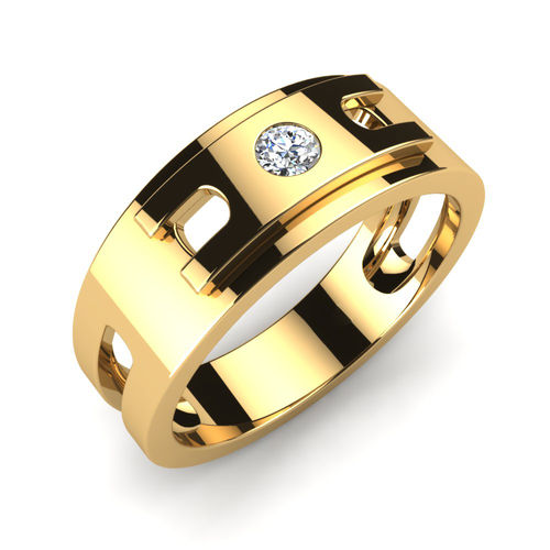 Ornaz 14Kt Yellow Gold Diamond Powerful Mind Men Ring