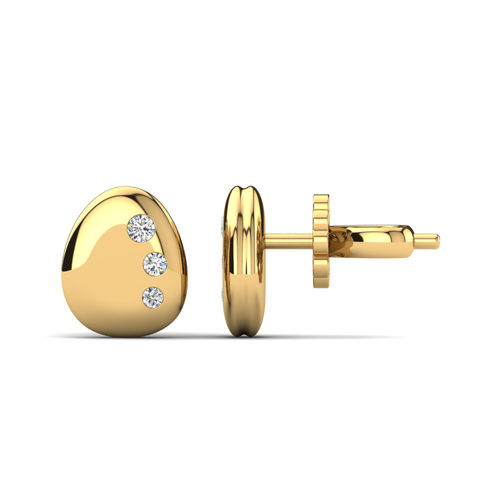Ornaz 14Kt Yellow Gold Diamond Bailey Stud Earrings