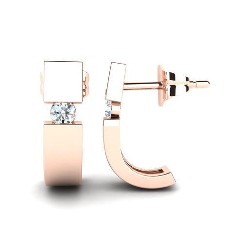 Ornaz 14Kt Rose Gold Diamond Tansy Stud Earrings