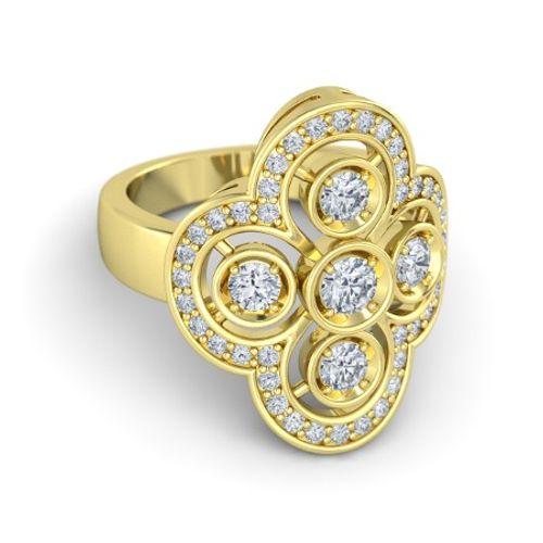 Ornaz 14Kt Yellow Gold Diamond Avo Engagement Ring