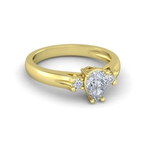 Ornaz 14Kt Yellow Gold Diamond Eloise Solitaire Ring