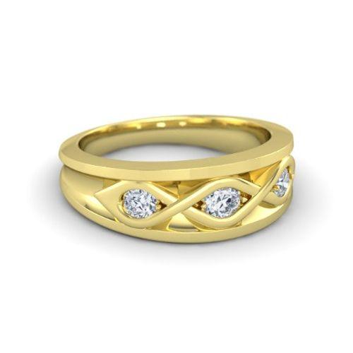 Ornaz 14Kt Yellow Gold Diamond Triple Twist Band