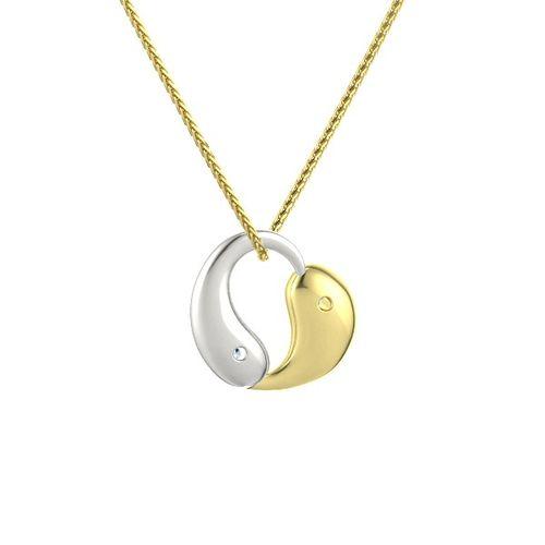 Ornaz 14Kt Yellow Gold Diamond Yang Heart Pendant