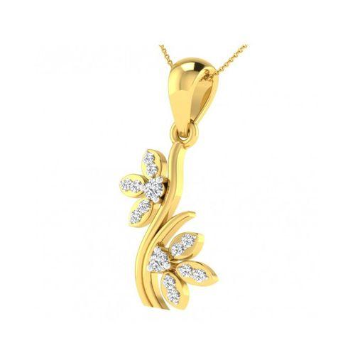 Ornaz 14Kt Yellow Gold Diamond Floral-leaf Pendant