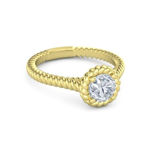 Ornaz 14Kt Yellow Gold Diamond Twisted Twine Solitaire Ring