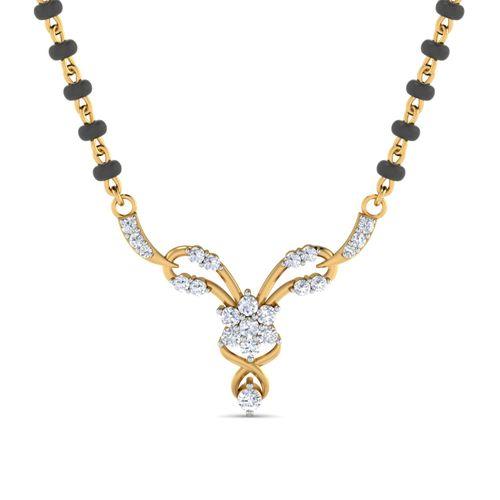 Dishi 18Kt Yellow Gold Diamond Nishkala Mangalsutra (Without Chain)
