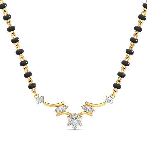 Dishi 18Kt Yellow Gold Diamond Svadha Mangalsutra-Without Chain