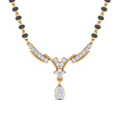 Dishi 18Kt Yellow Gold Nivritti Diamond Mangalsutra-Without Chain