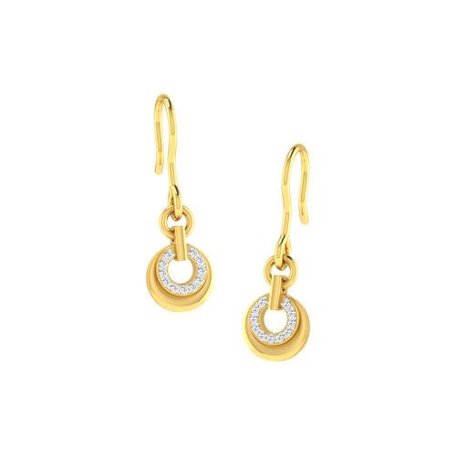 Dishi 18Kt Yellow Gold Contemporary Diamond Drop Earrings