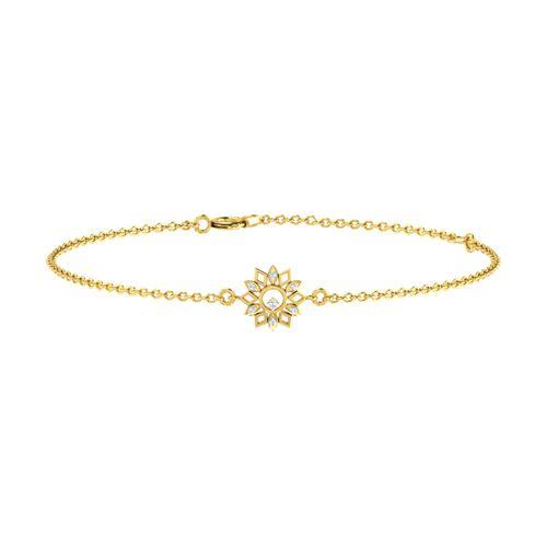 Dishi 18Kt Yellow Gold White Diamond Charm Bracelet