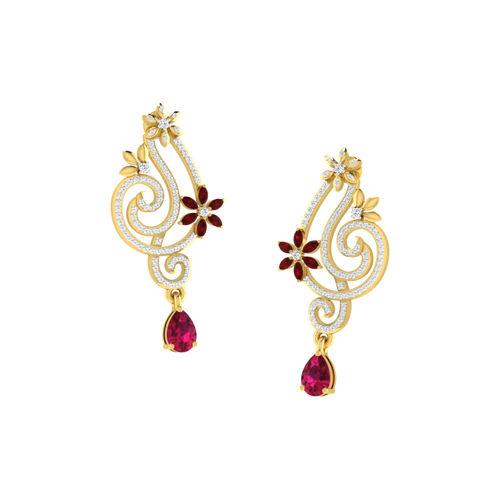 Dishi 18Kt Yellow Gold Neo Diamond Stud Earrings