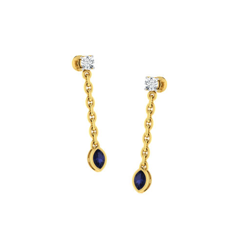Dishi 18Kt Yellow Gold Trendy Diamond Stud Earrings