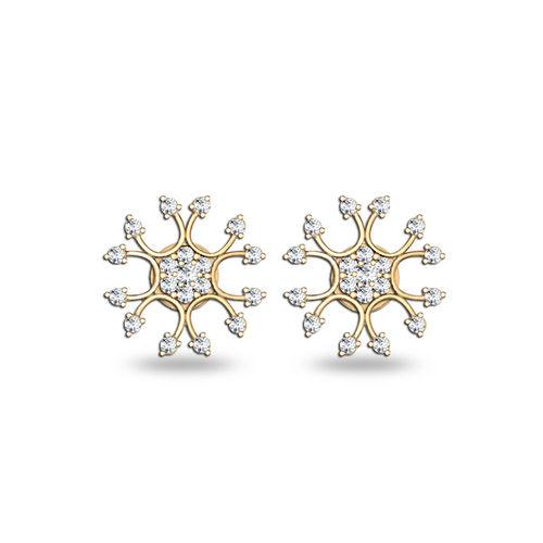 Dishi 18Kt Yellow Gold Rasshida Diamond Stud Earrings