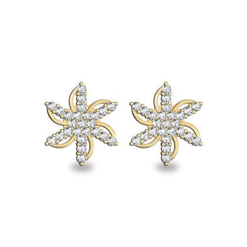 Dishi 18Kt Yellow Gold Raima Diamond Stud Earrings