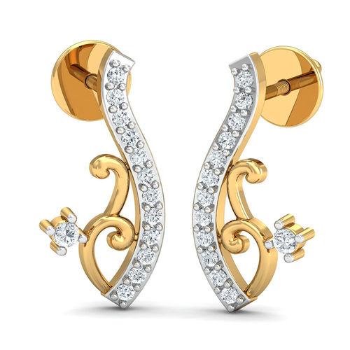 Dishi 18Kt Yellow Gold Diamond Sassy Stud Earrings