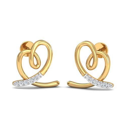 Dishi 18Kt Yellow Gold Diamond Pleasing Stud Earrings