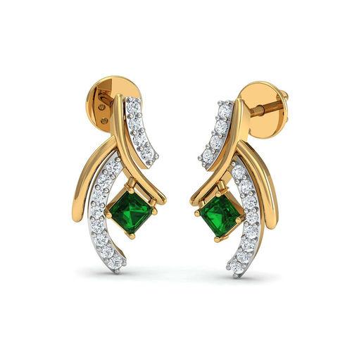 Dishi 18Kt Yellow Gold Diamond Valini Stud Earrings