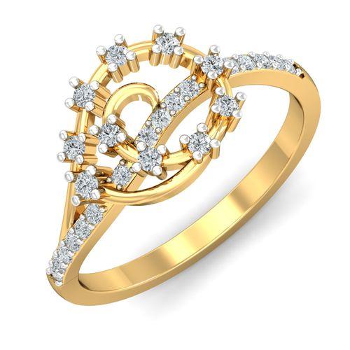 Dishi 18Kt Yellow Gold Diamond Elakshi Ring-Symbol of Prosperity Ring