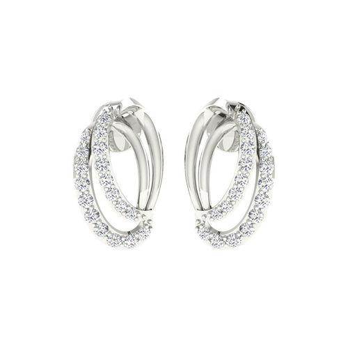 Dishi 18Kt White Gold Diamond Lis Stud Earrings