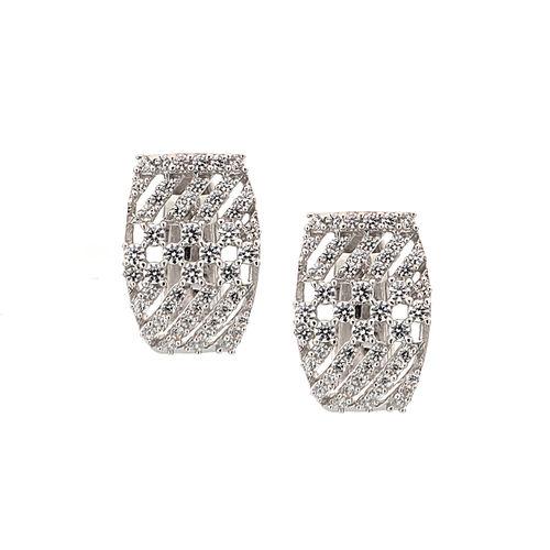 K&A Jewellery 14Kt White Gold Diamond Hoop Earrings