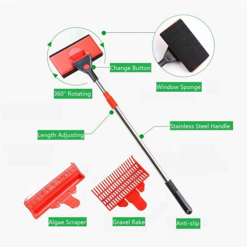 3 in 1 fish tank cleaner tool set algae scraper gravel rake window sponge brush. Black Bedroom Furniture Sets. Home Design Ideas