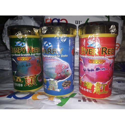 XO Humpy Head + Ever Red + Starry Ocean Free Flower Horn Fish Food 280ml  Each