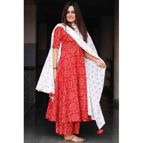 Red Bandhani Suit Set