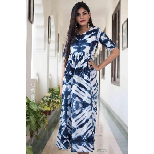Blue White Tyedye Dress
