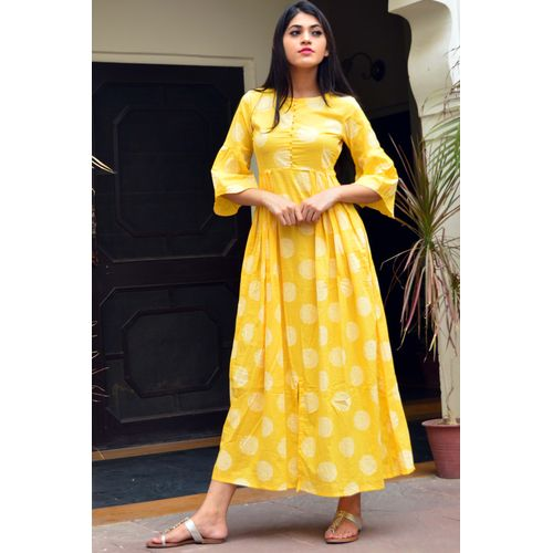 Yellow Front Slit Maxi