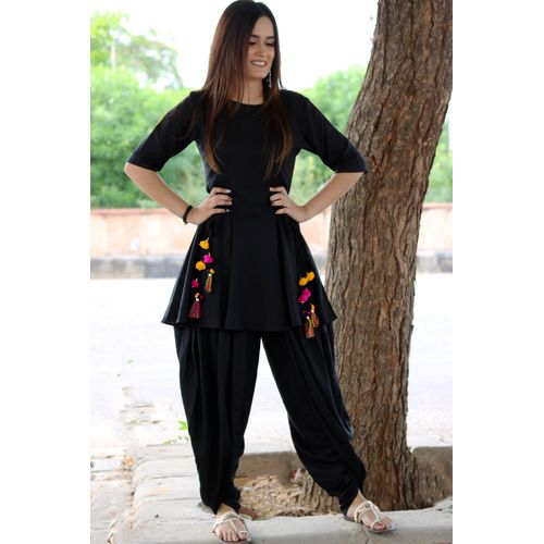 Black Dhoti Set