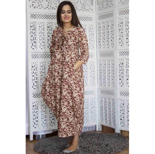 Brown Muddy Print Short Maxi Dress